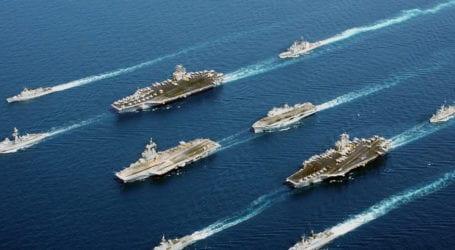 چینی سمندری حدود کے قریب امریکی جنگی بیڑوں کی بڑے پیمانے پر نقل و حرکت