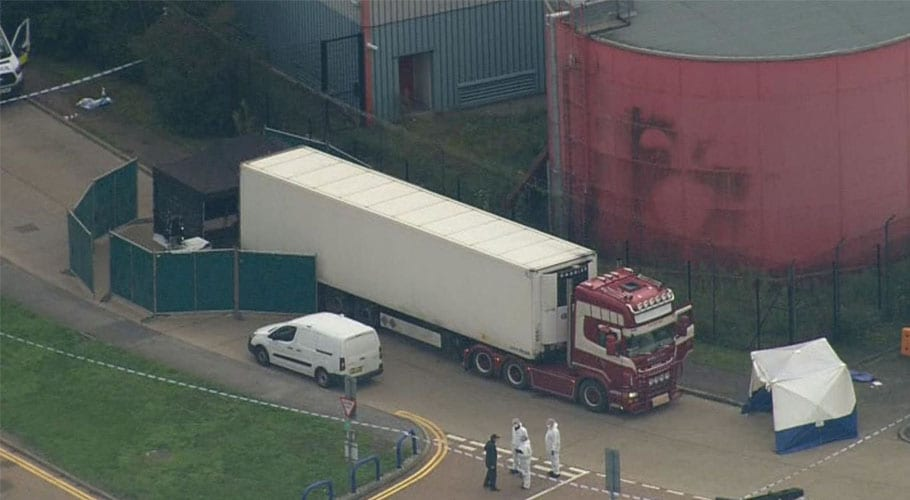 39 bodies found in a truck container near London, U.K. Police