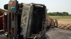 Oil Tanker turns over at Indus Highway, in Dera Ghazi Khan