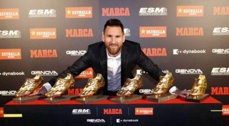 Messi receives record sixth European Golden Shoe