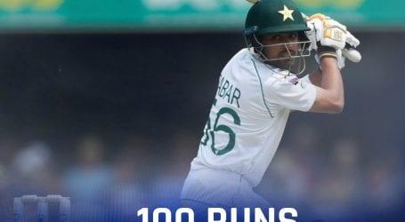 Babar Azam makes century against Australia