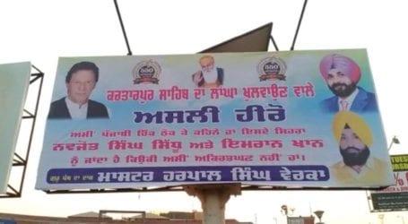 Posters appreciating PM for Kartarpur corridor display in India