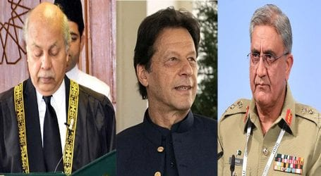 PM meets COAS Bajwa during oath-taking ceremony of new CJP