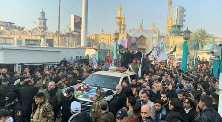 Funeral prayer of Iranian General being offered in Baghdad