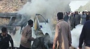 At least 11 killed, seven injured as van catches fire in Sargodha