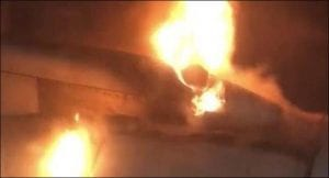 Fire explodes in a grounded aircraft at Karachi airport