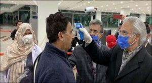 Dr Zafar Mirza inspects screening process