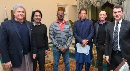 PM Imran Khan meets former international cricketers