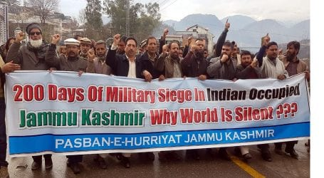 Protest held in Muzaffarabad on completion of 200 days of military siege