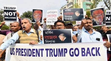 Protests erupt on US President Trump's arrival in India