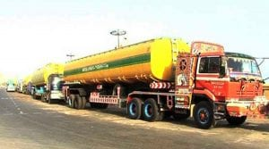 A high speed oil tanker overturns on national highway near Nawabshah