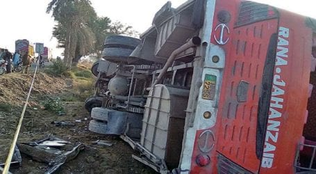 Five killed, 20 injured as passenger bus overturns near Hub