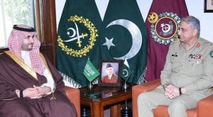 Saudi deputy defence minister calls on COAS Bajwa at GHQ