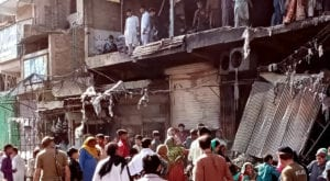 A fire that erupted at cotton and cloth shops on Friday in the Namak Mandi area, destroyed goods worth millions of Rupees.