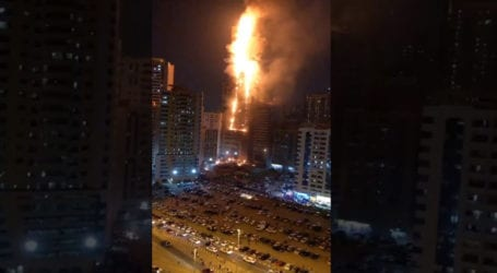 Massive Fire erupts at residential tower in UAE
