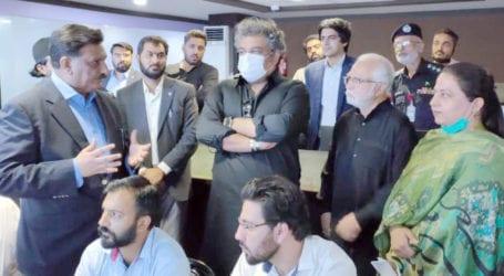 Ali Zaidi visits control room to review Muharram security in Karachi