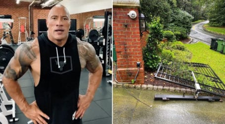 Dwayne Johnson rips off metal gate with bare hands
