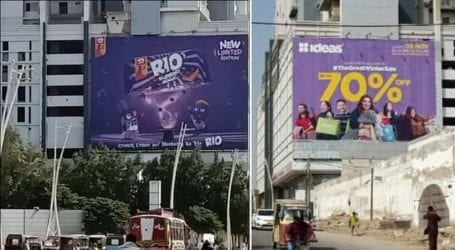 Outdoor advertisement placed illegally in Karachi's Clifton area