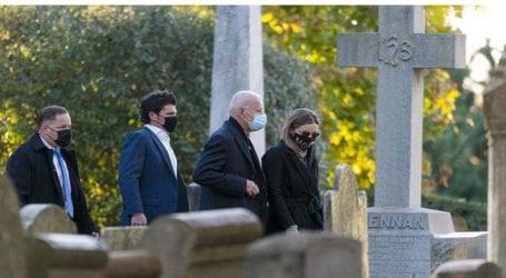 Biden starts Election Day visiting church, son's grave