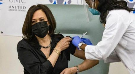 Kamala Harris receives first dose of Moderna COVID-19 vaccine