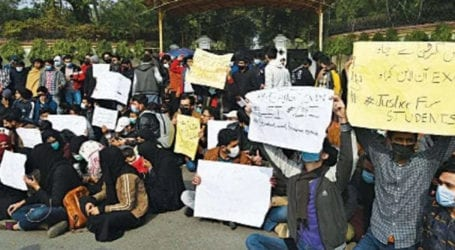 University students protest for online exams in Karachi