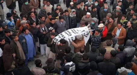 Sit-in continues for second day against killing of miners in Balochistan