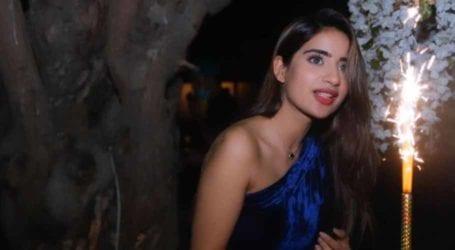 Birthday girl Saboor Aly looks ravishing in a blue velvet off-shoulder outfit