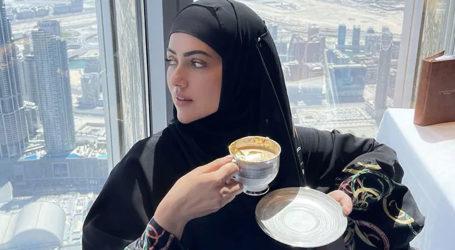 Sana Khan sips 'gold plated coffee' at top of Burj Khalifa