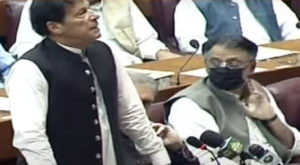 Prime Minister Imran Khan was speaking during the concluding session of the budget in National Assembly. Source: Screengrab