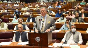 Finance Minister Shaukat Tarin addresses a National Assembly session