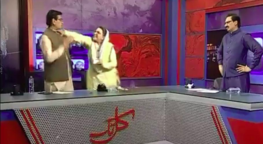 Firdous Ashiq Awan slaps PPP's Mandokhel during TV programme. Source: Twitter/ Screengrab