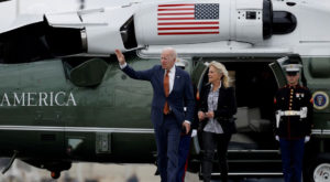 US President Joe Biden and first lady Jill Biden walk from Marine One to board Air Force One for return travel to Washington, Source: Reuters