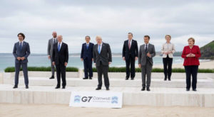 Leaders pose for a group photo at the G7 summit in Carbis Bay, Britain. Source: Reuters