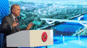 Turkish President Tayyip Erdogan speaks during the groundbreaking ceremony of a bridge over the planned route of Kanal Istanbul. Source: Reuters
