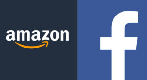 A visual logo of Amazon and Facebook. Source: FILE/Online.
