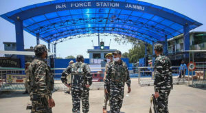 Two explosions occurred outside the high-security Jammu Air Force Station. Source: Indian Express