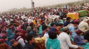 The people of JaniKhel have been protesting against killing of a tribal elder. Source: Twitter