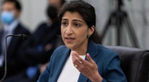 Lina M. Khan testifies on Capitol Hill. Source: Reuters