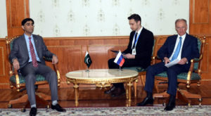 Dr Moeed Yousuf met with Secretary of the Security Council of Russia Nikolai Platonovich Patrushev. Source: Radio Pakistan