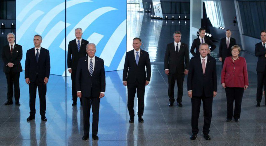 NATO Heads of the states and governments pose for a family photo during the NATO summit. Source: Reuters.