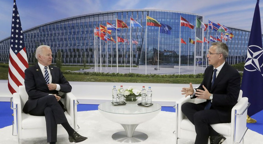 US President Joe Biden meets NATO Secretary General Jens Stoltenberg. Source: Reuters