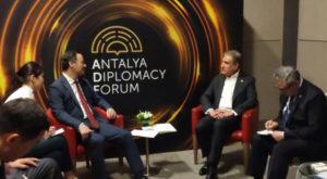 Qureshi met Kyrgyz counterpart Ruslan Kazakbaev on the sidelines of Antalya Diplomacy Forum. Source: Radio Pakistan