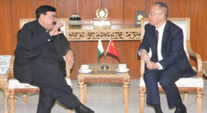 Minister for Interior Sheikh Rasheed Ahmed meets with Chinese Ambassador Nong Rong. Source: PID/APP.