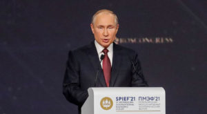 Russian President Vladimir Putin delivers a speech during a session of the St. Petersburg International Economic Forum (SPIEF). Source: Reuters