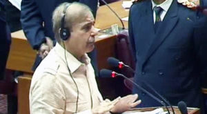 Leader of the Opposition in the National Assembly Shehbaz Sharif speaking in the National Assembly. Source: Dawn