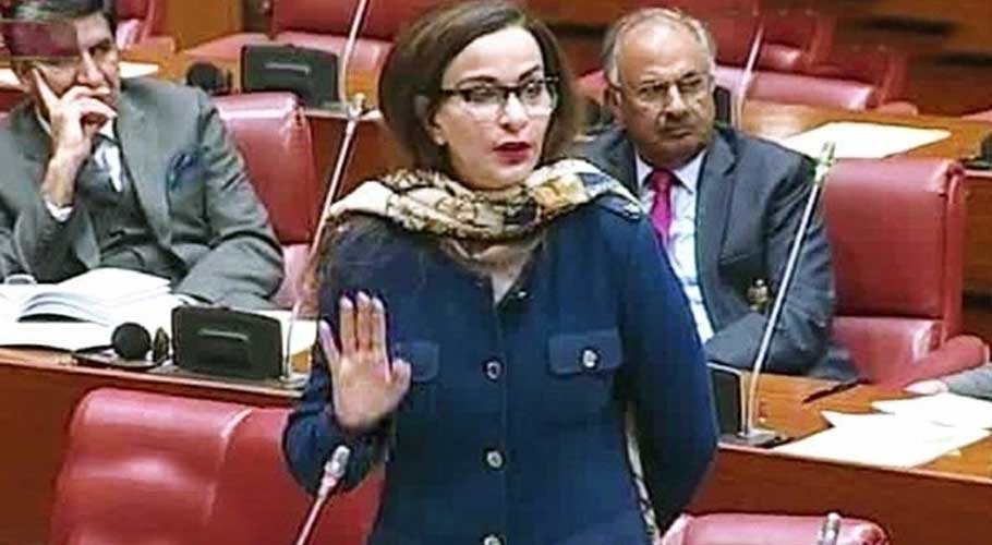 PPP Senator Sherry Rehman speaks in the upper house of parliament.