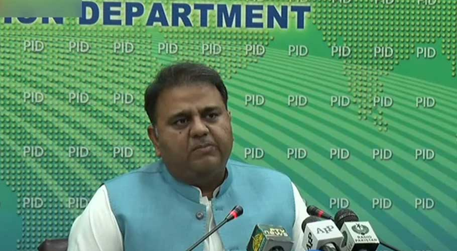 Fawad Chaudhry addressing a post-cabinet meeting press conference