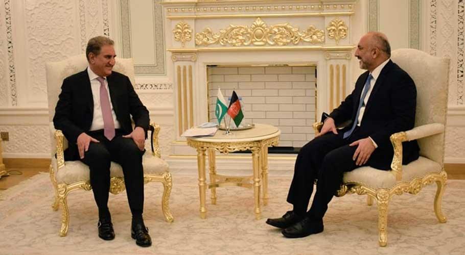 Qureshi meets his Afghan counterpart Haneef Atmar in Dushanbe.