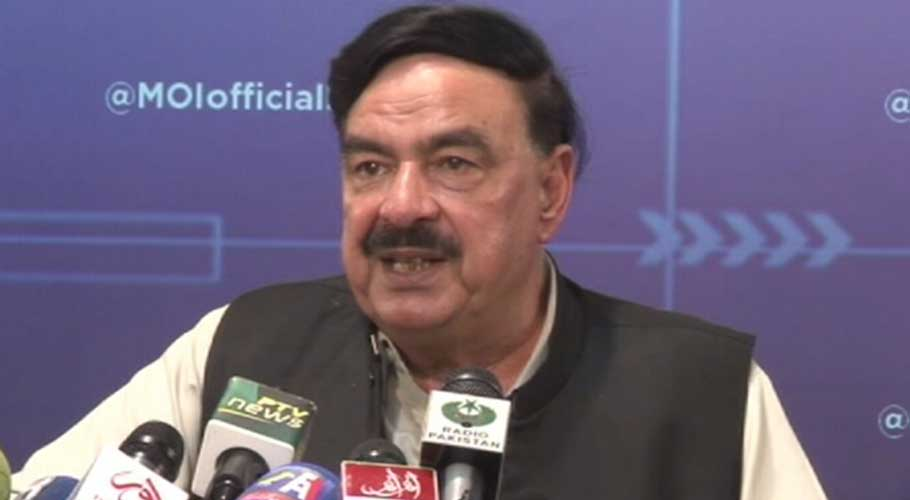 Interior Minister Sheikh Rashid addressing a press conference in Islamabad.