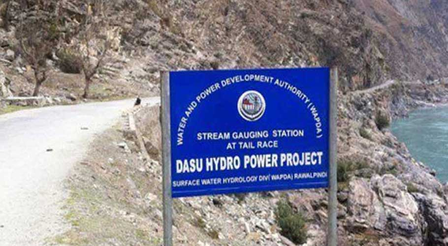 A board showing the site of Dasu Hydro Power Project.